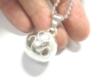 手作りシルバーアクセサリー/ハート模様の銀の鈴のネックレス直径17mm