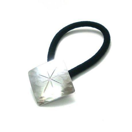 手作りシルバーアクセサリー/星と槌目模様のひし形ヘアゴム