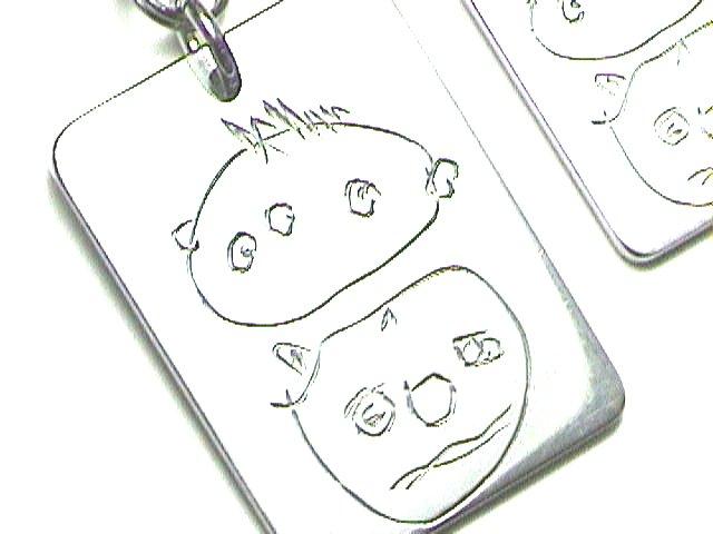 子供の絵のストラップとペンダント