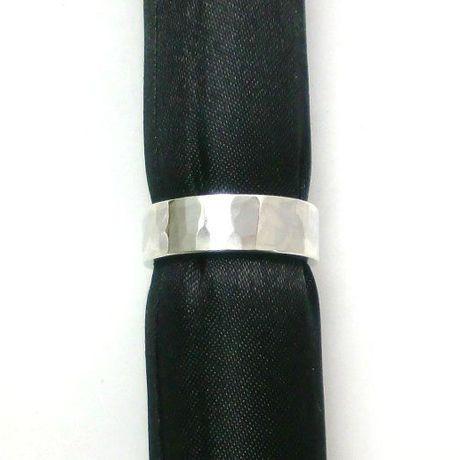 6mm幅槌目模様のシルバーリング